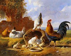 Spring Chickens — painting by Albertus Verhoesen (Dutch, 1806-1881)
