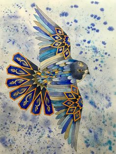 Feather Harmony Original Watercolor Painting (Geometrical Art, Sacred Geometry), Home Decoration, Luxury gift. – All about wall art Islamic Art Pattern, Pattern Art, Motifs Islamiques, Arte Judaica, Islamic Paintings, Turkish Art, Geometric Wall Art, Arabic Art, Calligraphy Art