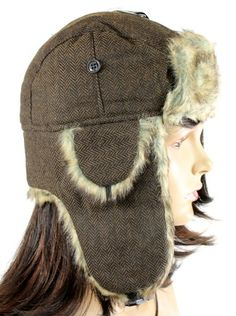 c7d2228eb7a NEW WOMANS UNISEX TRAPPER RUSSIAN HAT Ear Flap HERRINGBONE SNOWFLAKE MANY  STYLES