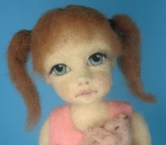 Lovely expressive needle felted face by Patricia Knight of Zada Creations