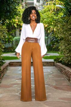 Style pantry bell sleeve bodysuit + high waist pintucked pants одежда в 201 Work Fashion, Modest Fashion, Fashion Pants, Fashion Looks, Fashion Outfits, Womens Fashion, Fashion Trends, Feminine Fashion, Fashion Fashion