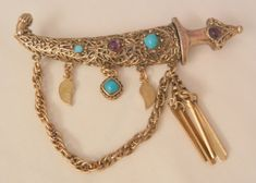 Always something exciting in store many items on sale from 10 to 60% off Impressive large rare Hollycraft chatelaine Jeweled Sword Brooch