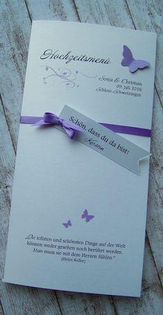 Menükarte mit Platzkarte / Hochzeitsmenü Wedding, Thanks Card, Place Cards, Guest Gifts, Card Wedding, Flatware, Invitations, Valentines Day Weddings, Weddings