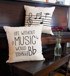Without music, your life would be flat! These fantastically punny pillows are a wonderful way to add a pop of color and personality to your space. Keep them for yourself, or give them to the music lover in your life! FEATURES - Prices are for a set of 2, choose your favorite set. - Handmade to order in the USA, size may vary slightly. - Our indoor pillow covers are 100% cotton. - Our indoor/outdoor pillow covers are made of weather resistant synthetic fabric. - All pillow covers have sham…