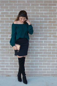 Timeless Optimist blog | knee high boots, off the shoulder, women fashion, fashion blog, casual, gold cross body bag