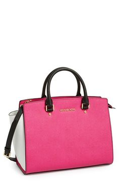 MICHAEL Michael Kors 'Large Selma' Colorblock Saffiano Leather Satchel available at #Nordstrom