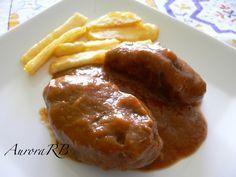 Las recetas de Aurora: Carrilleras de cerdo en salsa de vino tinto. Flan, Baked Potato, Tapas, Mashed Potatoes, Slow Cooker, Sausage, Food And Drink, Cooking Recipes, Beef