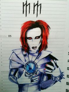 Marilyn Manson drawing in old time.