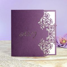 Purple Flower Laser Cut Evening Wedding Invitation with Intricate Lace Pattern, Personalisation, Including Complimentary Envelopes Evening Wedding Invitations, Laser Cut Wedding Invitations, Wedding Stationery, Wedding Cards, Wedding Day, Laser Cut Invitation, Invitation Envelopes, Purple Lace, Purple Flowers
