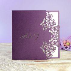 Purple Flower Laser Cut Wedding Invitation With par Cartalia