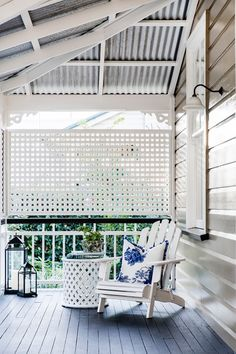 After 14 years of well thought out interior and exterior renovations, this old timber worker's cottage in Brisbane has been transformed into a luxurious yet low-maintenance home to last the ages. Queenslander House, Weatherboard House, Fresco, Lattice Screen, Front Verandah, Front Porch, Low Maintenance Garden, Australian Homes, Trendy Home