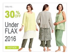 FLAX Design's UnderFLAX 2016 on sale at Fg Clothing. Today (3-28-17) save 30% off on UnderFLAX 2016 linen dresses, tops, tanks, pants and jackets.