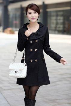 Womens Lace Hooded Slim Fit Double Breasted Coat Outwear Windbreaker Windcoat   eBay