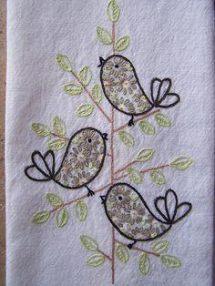 modern retro birds by Melys Hand-Embroidery, via Flickr