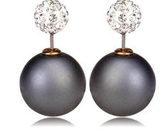 Affordable Uniklook Jewelry Statement Matte Ball Double Sided White Crystal Pav�� Stud Back Front Earrings 360