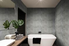 modern bathroom wall made in dark color tiles which covered the bathtub and towels near the fancy plant Wet Rooms, Interior, Bathroom Styling, Bathroom Designs Images, Modern Bathroom, Bathroom Decor Sets, Bathroom Design, Bathroom Decor, Bathroom Design Tool