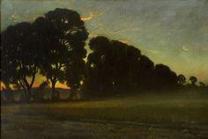 Thorolf Holmboe/Aker og lovtraer i aftenlys - 1901