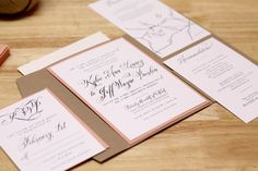 Rustic Peach Wedding Invitation with Kraft Pocketfold and Custom Map