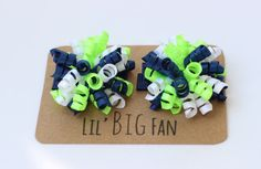 Seattle Seahawks Hair Bows Hair Clips Set Baby Babies Toddler Little Girl Girls Extra Small Petite Mini Navy Blue Neon Green White