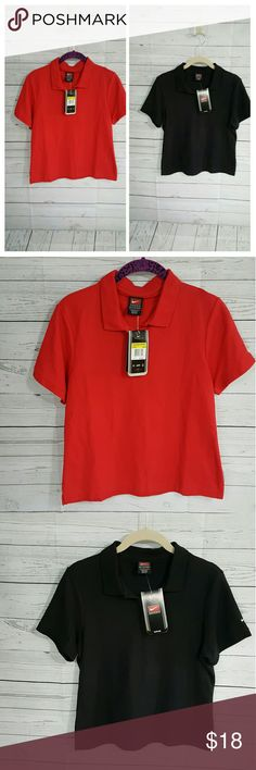 Nike shirt bundle Bundle of 2 Nike short sleeve shirts. Solid red and black. Great for golf, jeans or upgraded work out look. Dri-Fit fabrication. Nike  Tops Tees - Short Sleeve
