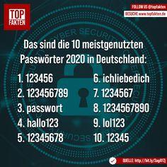 Das sind die 10 meistgenutzten Passwörter 2020 in Deutschland: 1. 123456 2. 123456789 3. passwort 4. hallo123 5. 12345678 6. ichliebedich 7. 1234567 8. 1234567890 9. lol123 10. 12345 #fakten #digital #passwort Photo And Video, Videos, Instagram, Technology, Germany