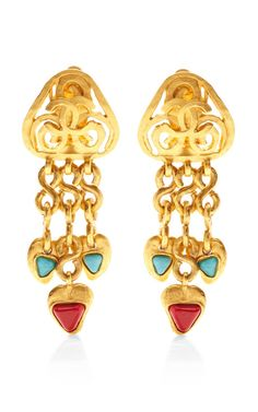 Vintage Chanel Gold Fretwork Dangle Earrings by What Goes Around Comes Around for Preorder on Moda Operandi