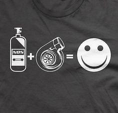 NOS + Turbo = Happy tee jdm shirts funny boost tshirts turbo tees