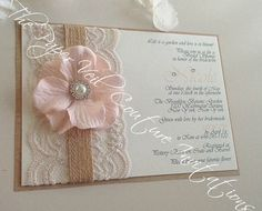 Rustic Vintage Garden Lace Collection by thepaperveilcouture Flower invitation - Glamour invitations - Lace invitations - Burlap and lace