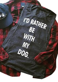 2db338a7d990d Women Casual Tank Tops Dark Grey I'd Rather Be With My Dog Letter Print  Tank Sleeveless O Neck 2018 Fashion Loose Summer Top Tee