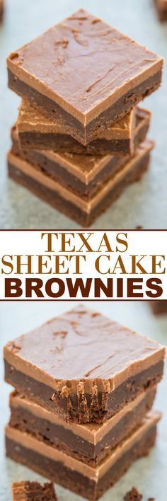 Texas Sheet Cake Brownies Dessert Recipe via Averie Cooks - Easy, FUDGY, no mixer brownies that are rich, chocolaty and decadent! The classic Texas sheet cake frosting makes them totally IRRESISTIBLE! The Best EASY Sheet Cakes Recipes - Simple and Quick 13 Desserts, Brownie Desserts, Brownie Cake, Brownie Recipes, Chocolate Desserts, Dessert Recipes, Party Recipes, Chocolate Frosting, Texas Sheet Cake Brownies Recipe