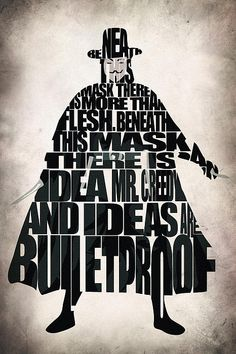 Beneath this mask there is more than flesh, beneath this mask there is an idea Mr. Creedy, and ideas are bulletproof. V for Vendetta by A. Guy Fawkes, V Pour Vendetta, Vendetta Film, Vendetta Quotes, Vendetta Mask, Ideas Are Bulletproof, Bruce Lee Quotes, Typographic Poster, Typographic Design
