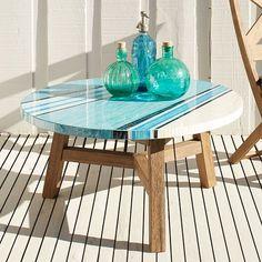 Mosaic Coffee Table Asymmetric Stripe Tile Top-Glass/Driftwood Base