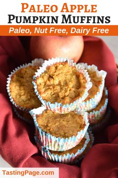 Paleo Pumpkin Apple Muffins {Grain Free, Nut Free} — Tasting Page Paleo Pumpkin Muffins, Apple Muffins, Pumpkin Recipes, Baking Muffins, Dairy Free Recipes, Paleo Recipes, Real Food Recipes, Yummy Food, Delicious Recipes