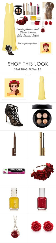 """""""Evening Gowns And Flower Crowns-July Special Series"""" by disneybound-fashion ❤ liked on Polyvore featuring Carla Zampatti, Pour La Victoire, MAC Cosmetics, Clinique, D&G, Ilia, Chapstick, Rock 'N Rose, Essie and Sian Bostwick Jewellery"""