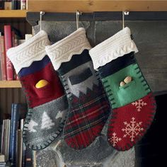 These ample-size stockings are made from recycled sweaters and cuffed with charming white trim. Stuff St. Nick's extra treats in the outside pocket. Each 8-inch by 20-inch one-of-a-kind stocking comes in holiday patterns like plaid or snowflakes. About $69; VivaTerra