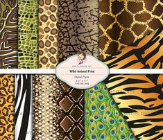 Animal Print Digital Paper Pack 8x11 Scrapbook Printable Elephant Snake Zebra African Wild Animal Background Papers Print Your Own 10472