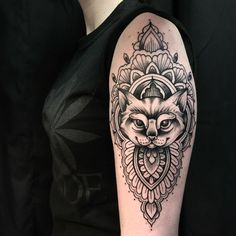 Cat Mandala done by Marky at Darkheart Tattoo in Crystal Lake, IL.