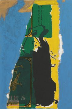 Robert Motherwell - St. Michel collage with blue, 1985, acrylic and paper collage on canvasboard