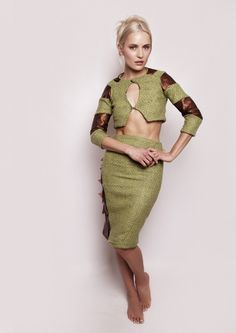 #Silver Harte, Grafton Academy of Fashion Design, graduate 2015. Unusual green wool and bronze gold lambskin leather pencil skirt suit with cropped jacket, twister style raglan sleeves and overlapping 3d panel at side  #unusualfashion #Dali #TristanandIsolde and #Vikings inspired #womanswear