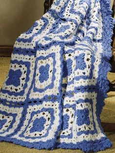 Free Bluebonnet Bliss Crochet Pattern -- Download this free crochet afghan pattern from FreePatterns.com.
