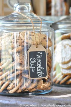Milk and cookies at a Chalk + Chalkboard and Burlap themed baptism luncheon party via Kara Allen | Kara's Party Ideas | KarasPartyIdeas.com #baptism #ldsbaptism #karaspartyideas_-101