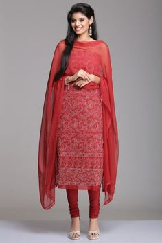 Red Unstitched Cotton Suit With Off-White & Brown Floral Jaal Chikankari Embroidery