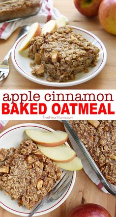 HEALTHY & SO GOOD! Apple Cinnamon Baked Oatmeal HEALTHY & SO GOOD! Apple Cinnamon Baked Oatmeal Apple Cinnamon Baked Oatmeal features tender apples, warm cinnamon, and sweet maple syrup for a wholesome breakfast that's sure to become a new favorite! Healthy Oatmeal Recipes, Healthy Breakfast Recipes, Healthy Baking, Healthy Oatmeal Muffins, Vegan Baked Oatmeal, Apple Pie Muffins, Healthy Apple Desserts, Protein Oatmeal, Baked Oatmeal Cups