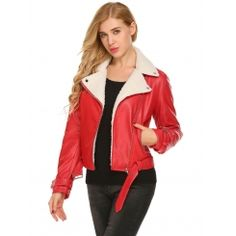"""Wine red Women Lapel Long Sleeve Faux Leather Shearling Motorcycle Coat Jackets """"#juniors #clothing #accessories #boys #womensfashion #genuine #vintage #girls #streetstyle #stylish #outfit #fashionista #fashionblogger #designers #instafashion #ootd #lookbook #beachwear #summer #newtrends #brands #sweetsixteendresses"""""""