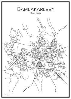 Stadskarta över Gamlakarleby