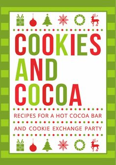 Tips and recipes for hosting a hot cocoa bar and cookie exchange party for the holidays.  Easy and updated recipes for traditional holiday cookies are included, along with tips and recipes for hot chocolate with a variety of fun and delicious mix-ins. Included with this beautifully photographed book are instructions on how to download a free, complete set of printable decorations for your winter or holiday event. Make your holiday parties -- whether for family, friends, work, social, or ...