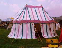 A stripy 'medieval' tent - no further info available