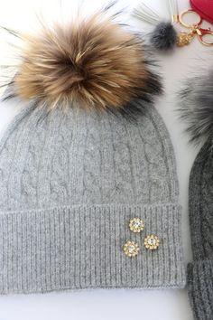 Beanie, Cashmere Wool Knit Blend Beanie Hat with Detachable Genuine Raccoon Fur Pom-Pom Gray Beanie and Gray Fur Pom, NEW!
