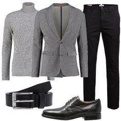 giacca griga e pantalone nero