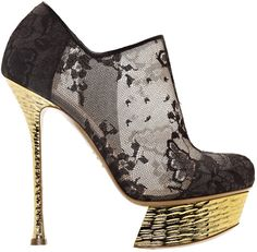 Nicholas Kirkwood Black lace round toe ankle boot with hammered gold chrome platform and heel Nicholas Kirkwood Shoes, Stiletto Pumps, Stilettos, Shoes Heels Wedges, Shoes Sandals, Unique Shoes, Shoe Collection, Me Too Shoes, Crazy Shoes